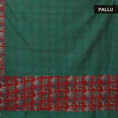 Mercerised Cotton Saree Dark Green with kalamkari partly type for Rs.Rs. 1090.00 | by Prashanti Sarees