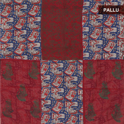 Mercerised Cotton Saree Maroon and Blue with Kalamkari Patch