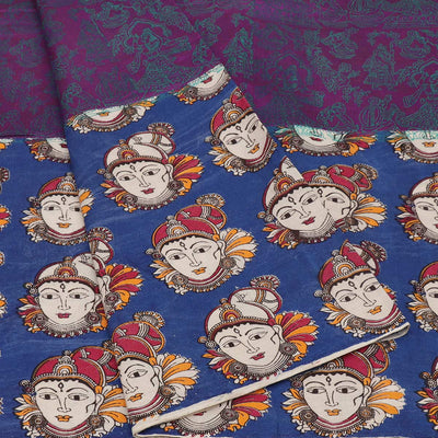 Mercerised Cotton Saree Purple and Blue with Kalamkari Patch