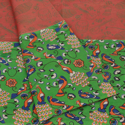 Mercerised Cotton Saree Brown and green with Kalamkari Patch