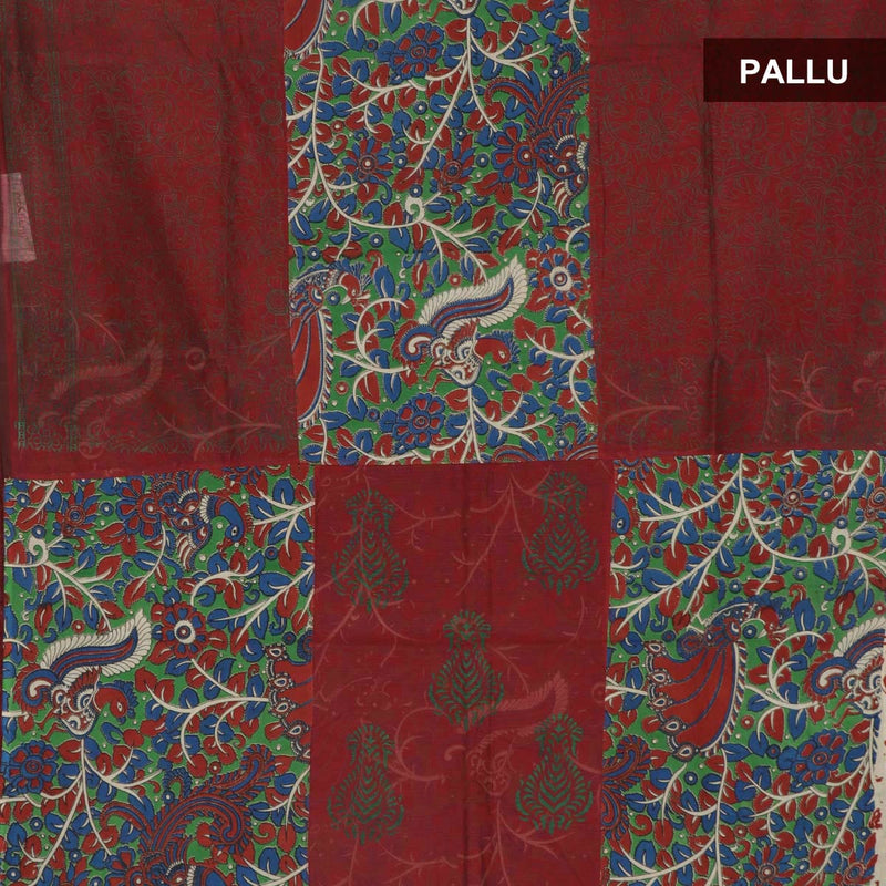 Mercerised Cotton Saree Green and Maroon with Kalamkari Patch