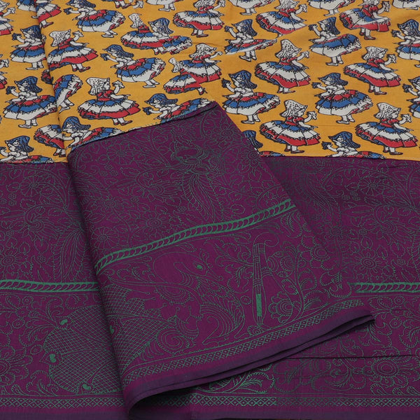 Mercerised Cotton Saree Yellow and Purple with Kalamkari Patch