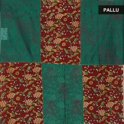 Mercerised Cotton Saree Maroon and Green with Kalamkari Patch