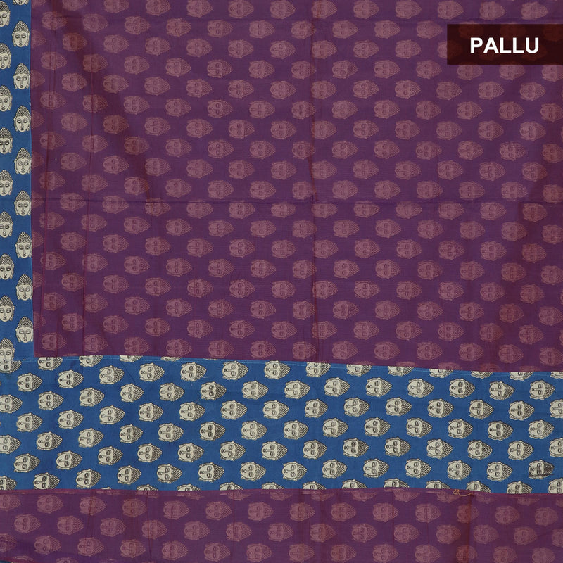 Mercerised Cotton Saree Purple and Blue with partly type