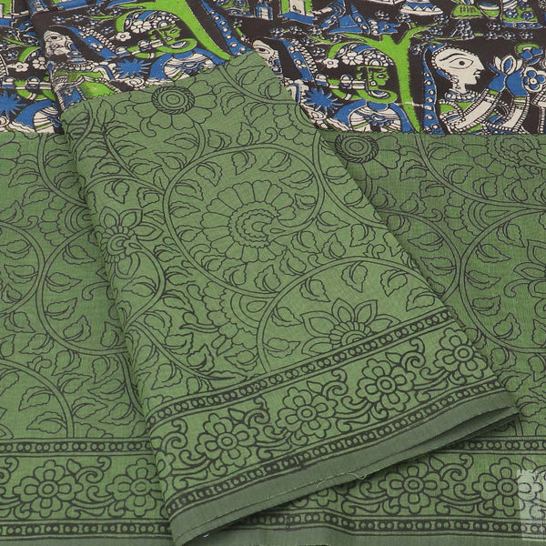 Mercerised Cotton Saree Black and Green with Kalamkari Patch