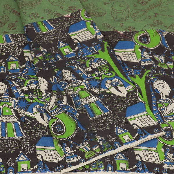 Mercerised Cotton Saree Light Green and Black with Kalamkari Patch