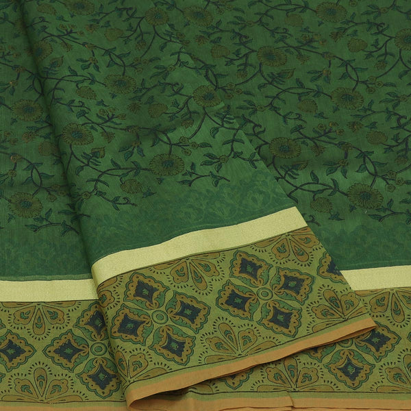 Mercerised Cotton Saree Light green with jaipur print and simple zari border