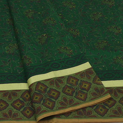 Mercerised Cotton Saree Green with jaipur print and simple zari border