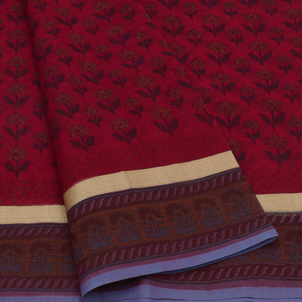 Mercerised Cotton Saree Maroon with jaipur print and simple zari border