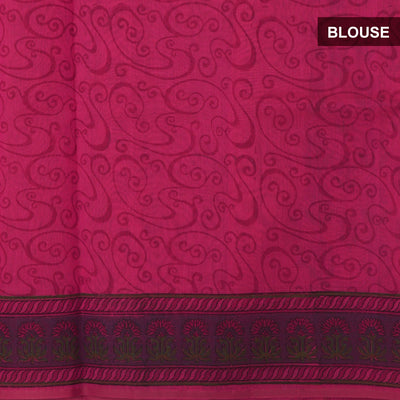 Mercerised Cotton Saree Pink with jaipur print and simple border