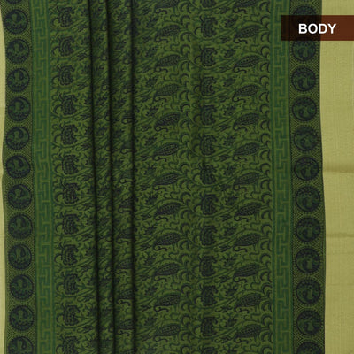 Mercerised Cotton Saree Green with jaipur print and zari border