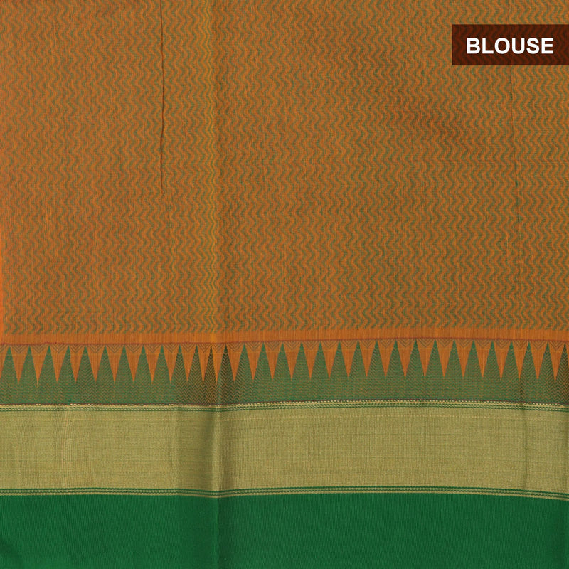 Mercerised Cotton saree Orange and Green with temple border