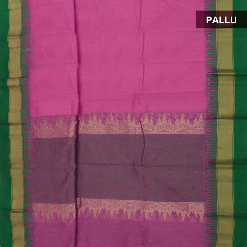 Mercerised Cotton saree Pink and Green with temple border