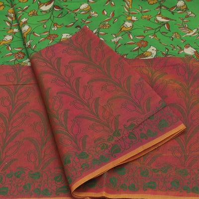 Mercerised Cotton Saree Pink and Green with Kalamkari patch