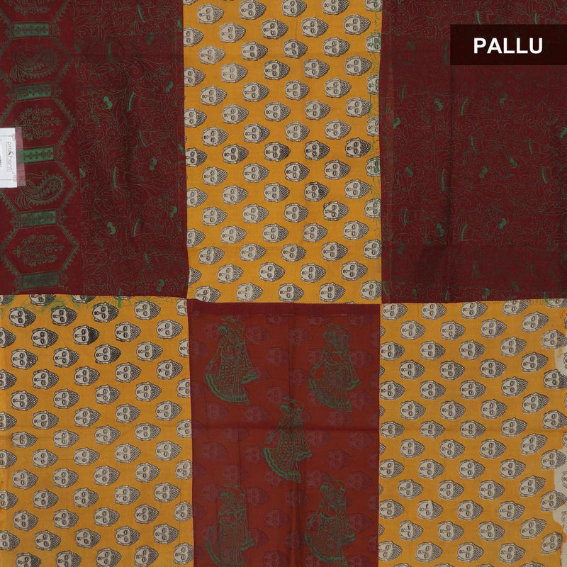 Mercerised Cotton Saree Maroon and yellow with Kalamkari patch