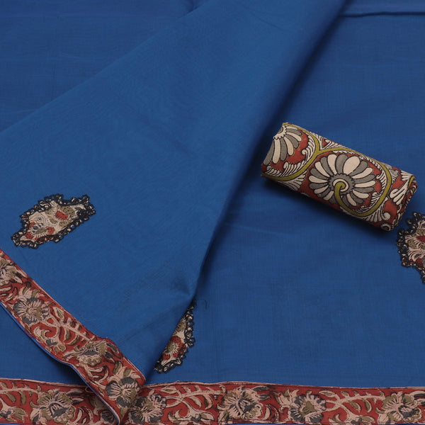 Kalamkari Saree Blue and Maroon with Kalamkari applique work for Rs.Rs. 1745.00 | by Prashanti Sarees