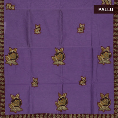 Kalamkari Saree Violet and Maroon with Kalamkari applique work