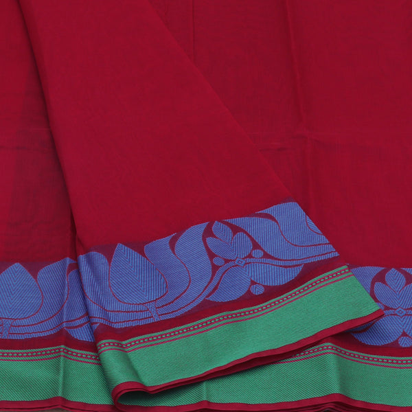 Mercerised Cotton Saree Maroon with lotus zari border