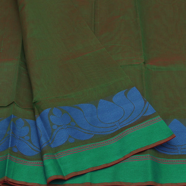 Mercerised Cotton Saree Green with lotus thread border