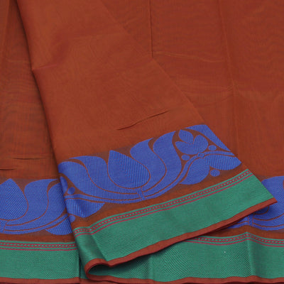 Mercerised Cotton Saree Brown with lotus thread border