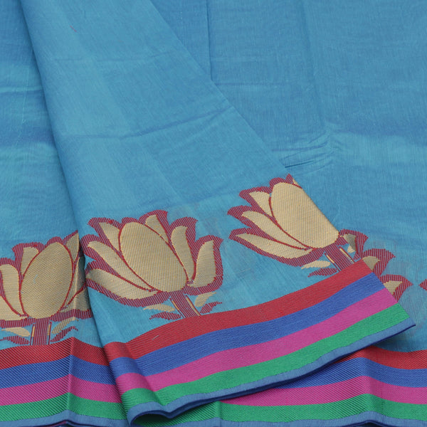 Mercerised Cotton Saree Sky blue with lotus zari border