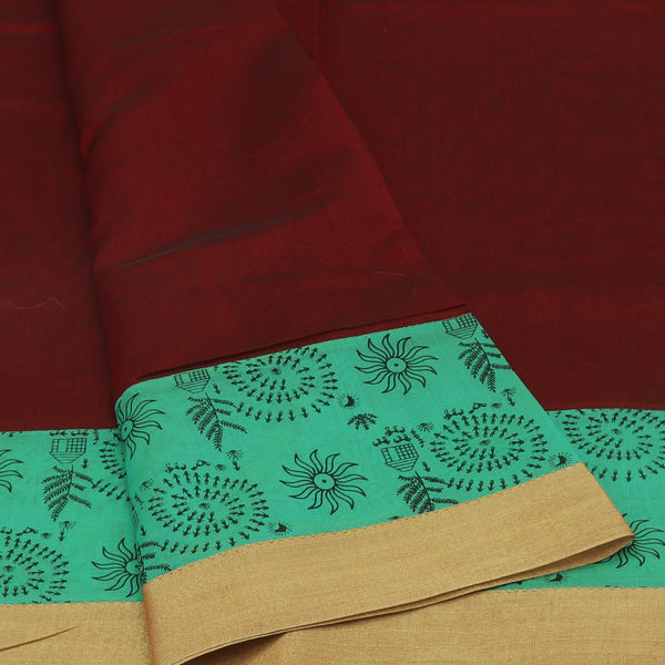 Mercerised Cotton Saree Maroon and Green with Printed border for Rs.Rs. 1430.00 | by Prashanti Sarees