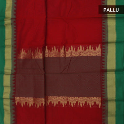 Mercerised Cotton Saree Red and Green with temple thread border
