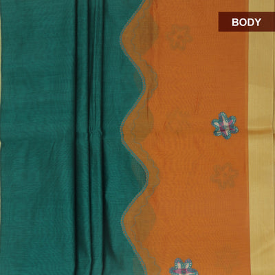 Mercerised Cotton Saree Green and Mustard with Applique work