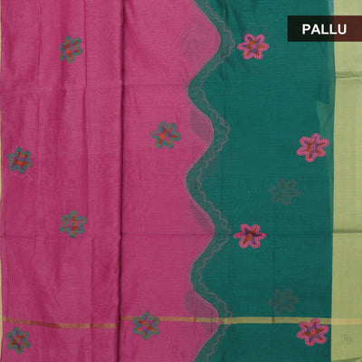 Mercerised Cotton Saree Pink and Green with Applique work