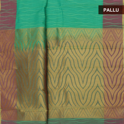 Kora Silk Saree Light Green and Pink with emboss and simple border