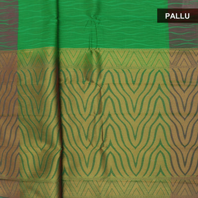 Kora Silk Saree Green and Pink with emboss and simple border