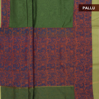 Mercerised Printed Cotton Saree Green and Peach shade with Simple border