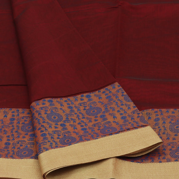 Mercerised Printed Cotton Saree Maroon and Brown with Simple border