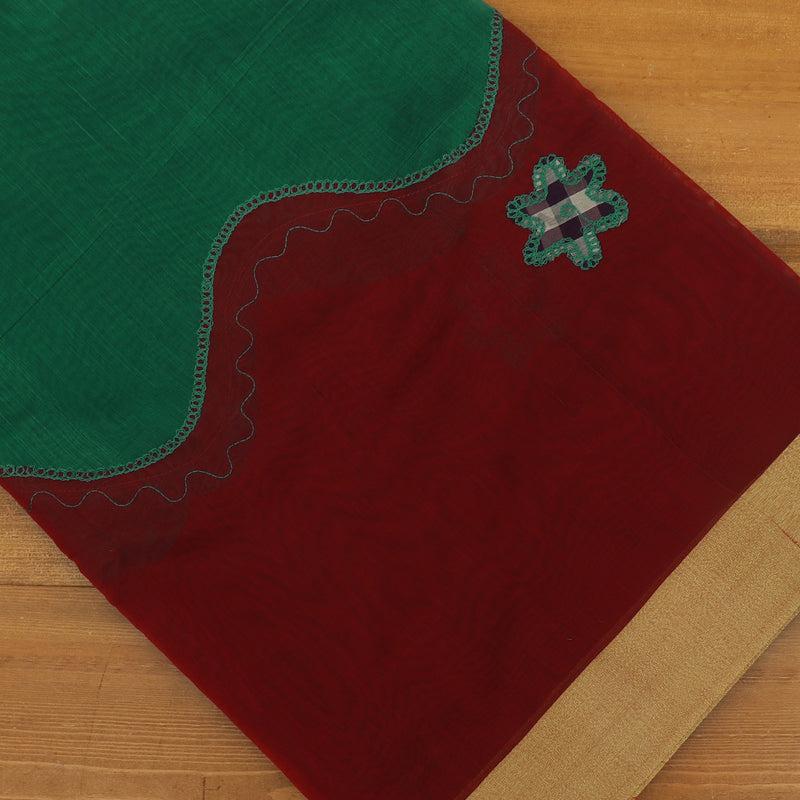Mercerised Cotton Saree Green and Maroon with Applique work