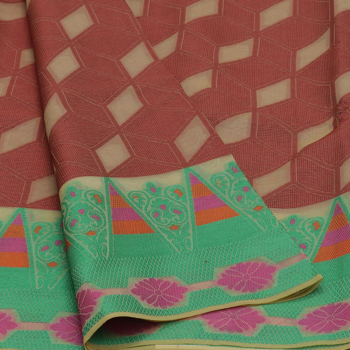Banarasi Organza Saree Brown and Green with Temple thread border