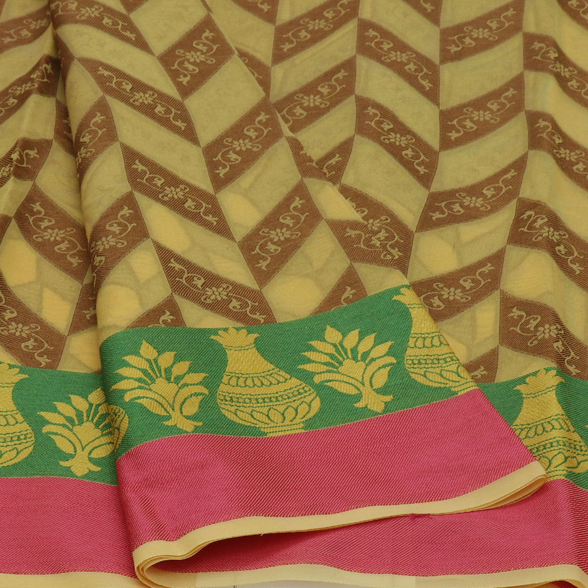 Banarasi Organza Saree Light Yellow and Green with Pot thread border