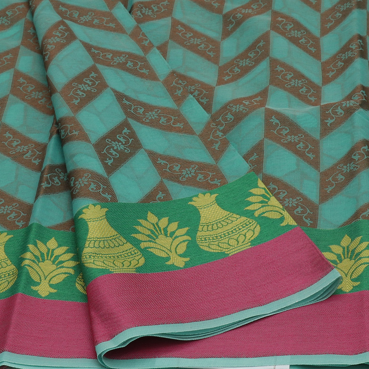 Banarasi Organza Saree Sea Green and Green with Pot thread border
