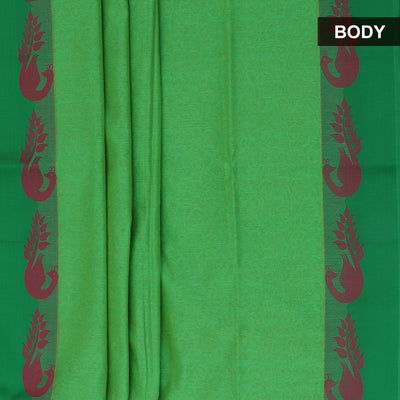 Mercerised Cotton Saree Light Green and Pink with Peacock border