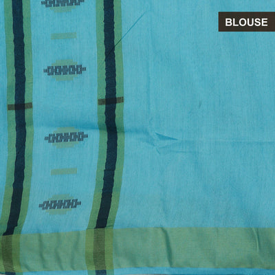 Bhagalpuri Paper Silk Saree Light Blue with Simple border