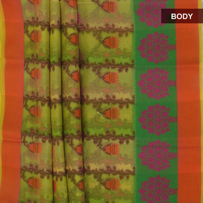 Banarasi Organza Saree Light Green with floral thread border