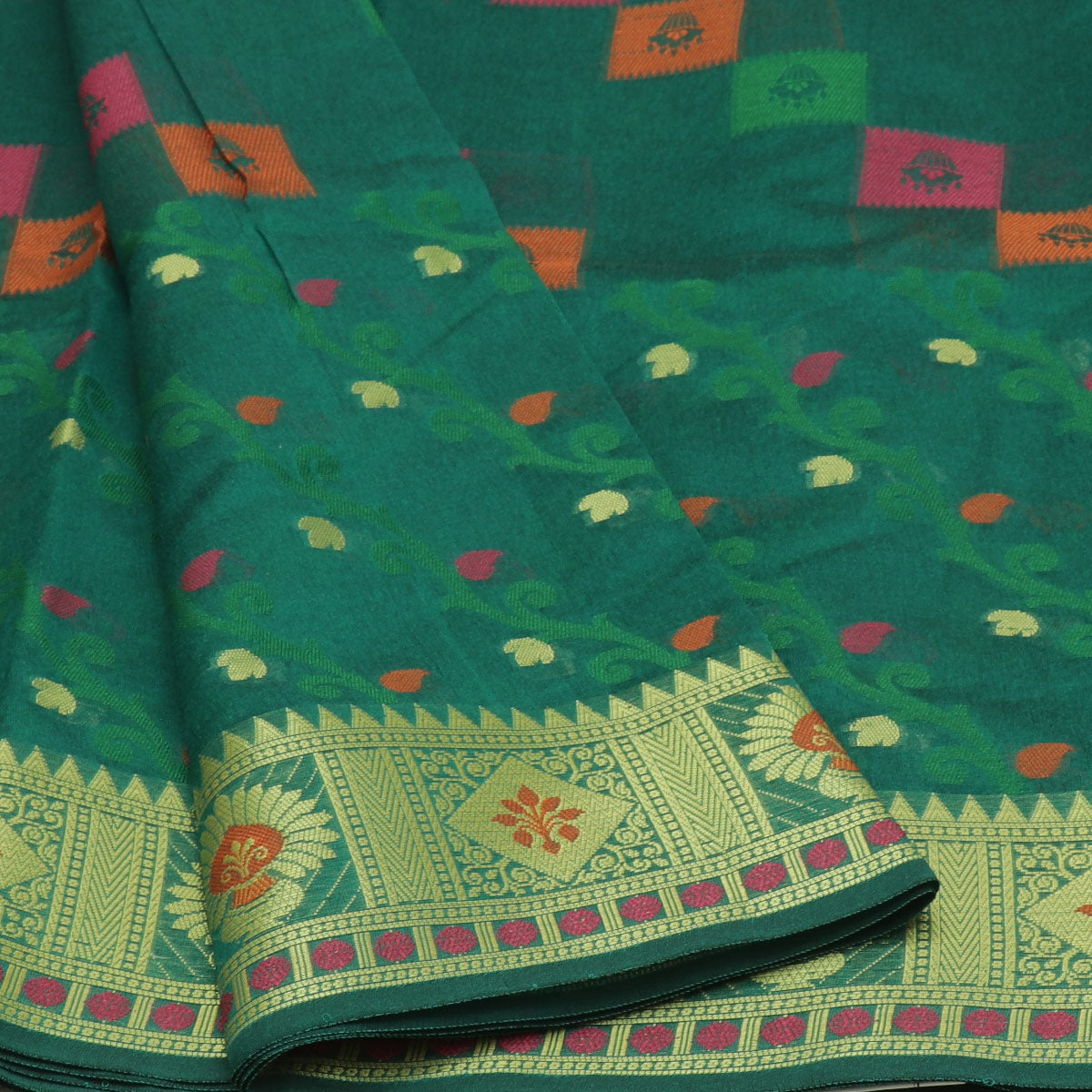 Banarasi Organza Saree Green with Temple zari border
