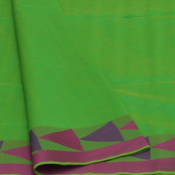 Mercerised Cotton Saree Green and Pink with Triangle border for Rs.Rs. 1590.00 | Cotton Sarees by Prashanti Sarees