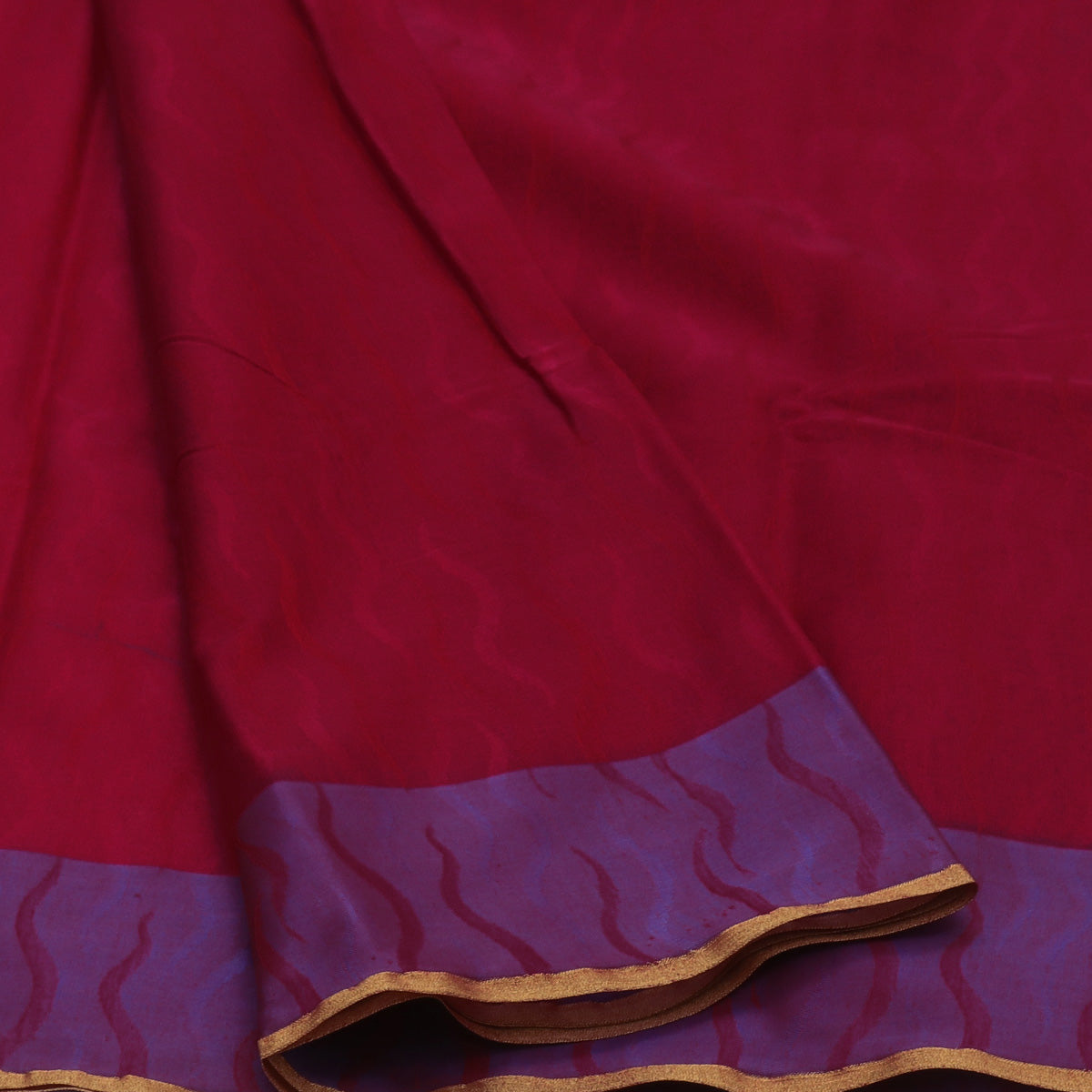 Kora Silk Saree Red and Blue with Simple border