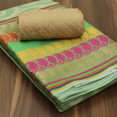 Banarasi Organza Saree Light Green with long mango border