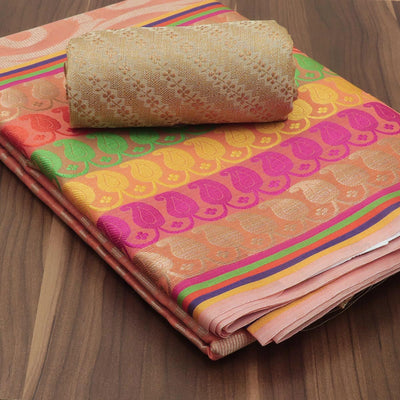 Banarasi Organza Saree Light Orange with long mango border for Rs.Rs. 1590.00 | Banarasi Sarees by Prashanti Sarees