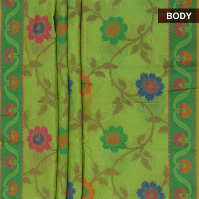 Banarasi Organza Saree Light Green with floral thread design