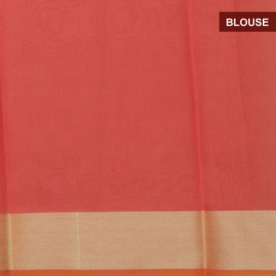 Banarasi Organza Saree Pink with leaf butta and floral border