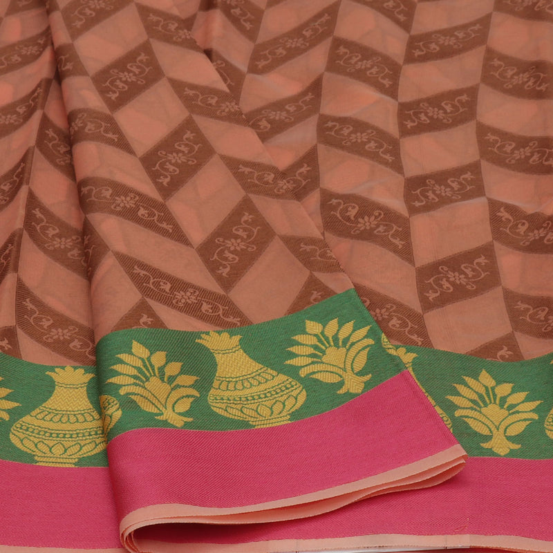 Banarasi Organza Saree Light Orange and Green with Pot thread border