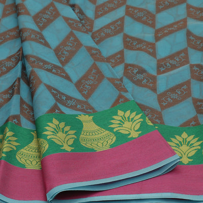 Banarasi Organza Saree Sky Blue and Green with Pot thread border