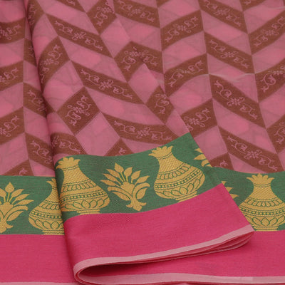 Banarasi Organza Saree Pink and Green with Pot thread border